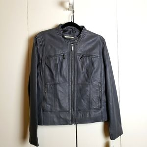 Michael Kors Charcoal Gray Leather Jacket XL